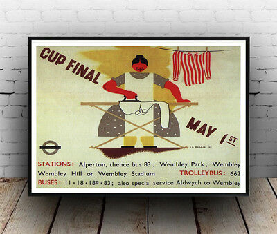 Cup final May 1st : Old London Underground Travel Poster reproduction