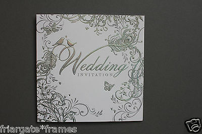 Wedding Day Invitations Pack of 6 Silver Embossed Love Birds Design