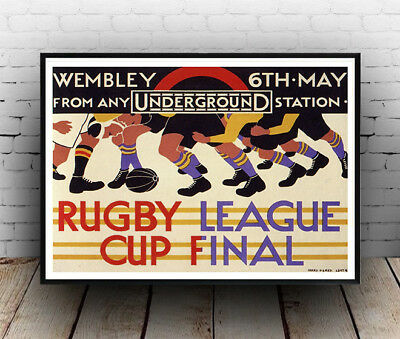 Rugby League Cup Final : Old Travel Poster reproduction
