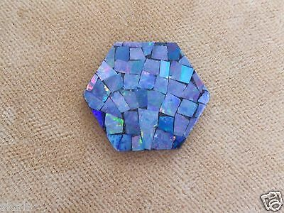 Estate Old Stock Special Cut 19mm Mosaic Australian Opal On BlackOnyx skaisJN14