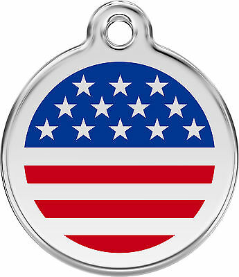 American Flag Engraved Dog / Cat ID identity Tags / discs by Red Dingo (1US)