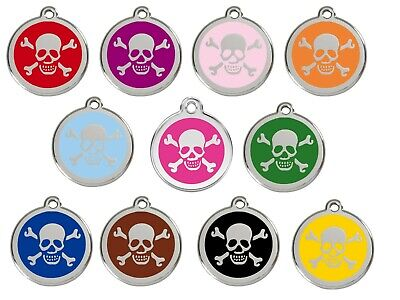 Skull & Crossbones Personalised Dog ID Identity Tags / Discs Red Dingo (1XB)