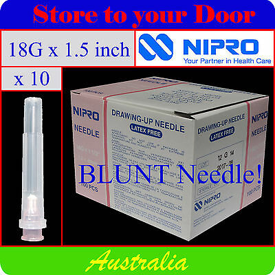 "-(10) 18G x 1.5"" BLUNT Hypodermic Needles / DRAWING Syringe Needle Tips - Sharps"