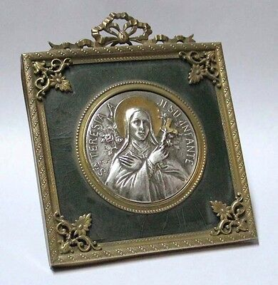 Interesting old St Therese Teresia infante plaque French frame 12 cm x 10 cm