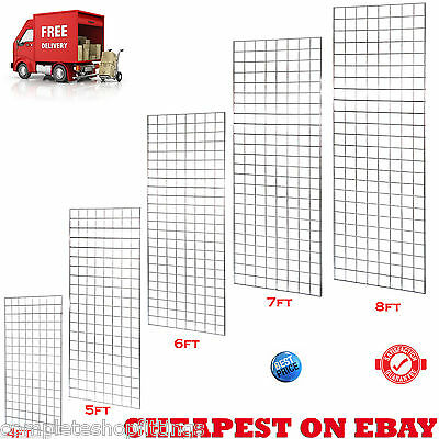 New Heavy Duty Grid Wall/ Gridwall Mesh Chrome Display Panel Retail Shop 5 Sizes