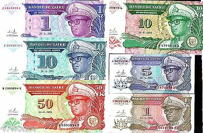 Zaire 1993 Lot of 6 Banknotes set of 6 UNC
