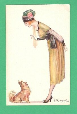1920 SERGIO BOMPARD ART DECO POSTCARD BEAUTIFUL LADY WITH TREAT FOR DOG