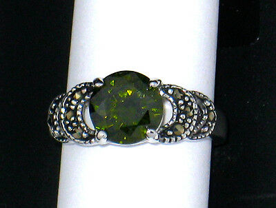 NEW Arribas Brothers✿Olive CZ Marcasite Ring✿Walt Disney World Authentic✿Size 7