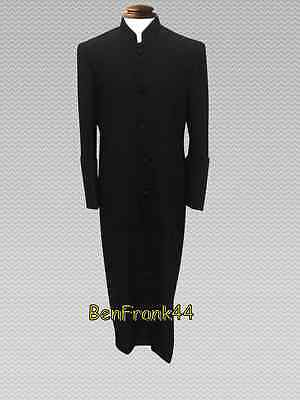 NWT Men's NICE Clergy Pastor Robe Minister Cassock Preacher Clerical Solid Black