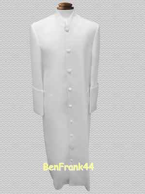 NWT Mens Clergy Robe Pastor Minister Cassock Preacher Clerical Solid Off-White