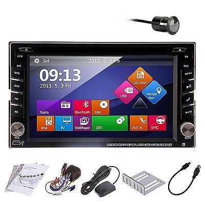 """Double 2Din In Dash Deck Car DVD Radio Player 6.2"""" GPS Touch BT iPod Stereo+ Cam"""