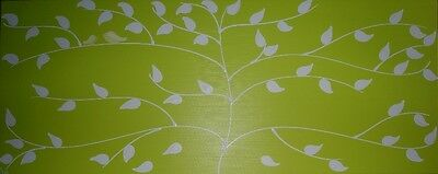 ABSTRACT ORIGINAL CANVAS PAINTING TREE WITH BIRDS LIME WHITE DEES FUNKY ART