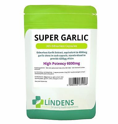 Super Strength Garlic 6000mg; Odourless 365 capsules oil softgels Lindens