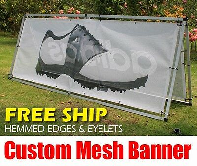 $1.68 sq/ft Free Ship Custom Perforated Mesh Vinyl Banners Building Fence Wrap