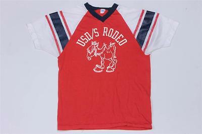 70s Vintage USD/S Rodeo Champion Blue Bar Jersey T Shirt S