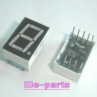 """50 PCS 1 Digit 0.56"""" RED 7 SEGMENT LED DISPLAY COMMON ANODE 10 Pins"""