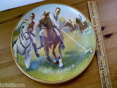 Old Colorful Lithograph Tin Tray with Polo Players on Horseback