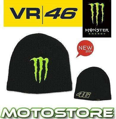 Vr46 Valentino Rossi Monster Energy Official Sponsor Beanie Hat Genuine Black