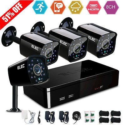 ELEC® 4 CH Channel DVR 4 Outdoor Night  Home Video CCTV Security Camera System