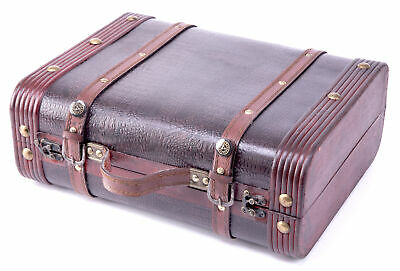 New Vintiquewise Decorative Wooden Leather Suitcase, QI003009