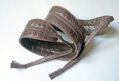 Bottega Veneta cintura in pelle intrecciata vintage leather belt anni '80
