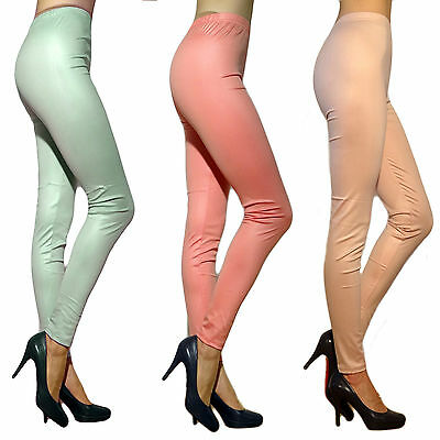 Damen Leggings Leggins Leder Hose Blickdicht Synthetik Mint Rosa 36 38 40 42