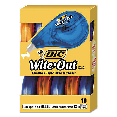 Bic WOTAP10 Wite-Out Correction Tape Non-Refillable 10 Pack Value-Pack