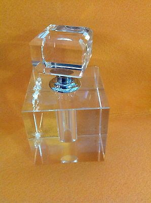 Vintage Clear Square Cut Crystal Perfume Bottle
