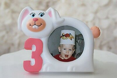 White Bunny Rabbit Picture Frame 3 Year Old Birthday Picture Photo Frame