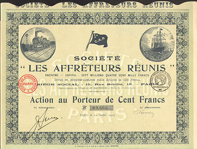 French Railroad & Shipping   1919 Les Affretuers Reunis stock certificate share