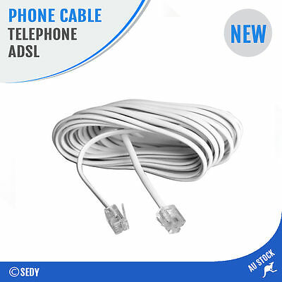 5m Telephone Line Phone Cable Extension Cord Lead Plug ADSL Network RJ11 4 Pins