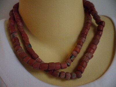 OLD VINTAGE AFRICAN ETHNIC TRIBAL RED OCHRE GLASS BEAD TRADE FIBRE NECKLACE