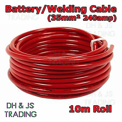 10m Red Battery Welding Cable 35mm² 240a - Flexible Marine Boat Automotive Wire