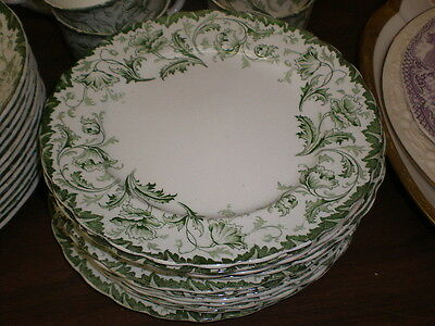10 Soup Salad/Dessert/Luncheon Plates-BURSLEM OPHIR - Green Color