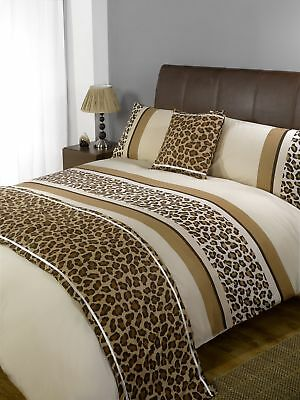 Dreamscene Leopard Chocolate Duvet Cover 5 Piece Bed in a Bag Set - Double King