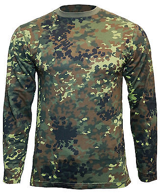Flecktarn Camo Long Sleeved T-Shirt - All Sizes Army Military Cotton Top New