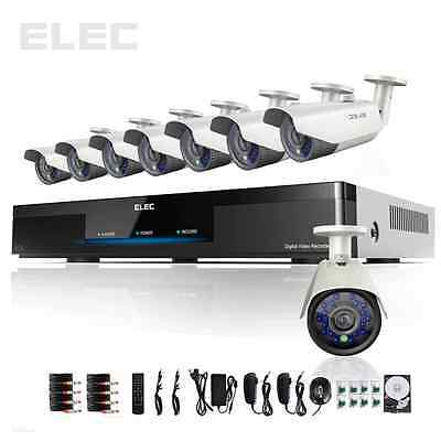 ELEC® 8 CH  Channel DVR Outdoor  HDMI  Security Night Home Camera System 1TB