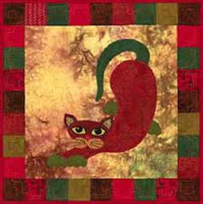 Garden Patch  Cats Pattern -POBLANO PUSS Helene Knott Story Quilts Applique