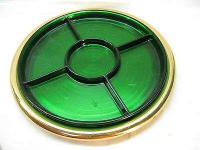Emerald Glo Paden City Glass Divided Relish Tray Star Cut Green Vintage Brass