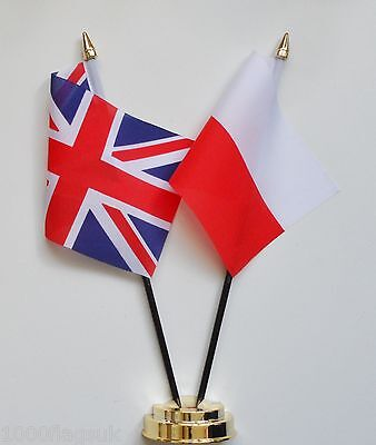 United Kingdom & Poland Double Friendship Table Flag Set