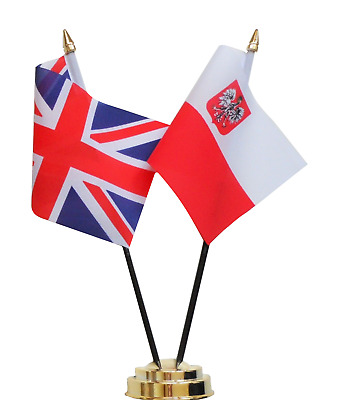 United Kingdom & Poland Eagle Double Friendship Table Flag Set