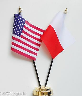 United States of America & Poland Double Friendship Table Flag Set