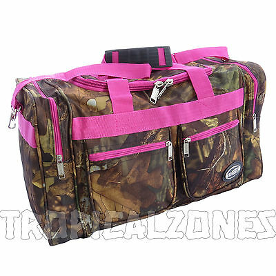 """Pink Trim Camo Duffle Gym Bag Women Overnight Travel Carry on Luggage 20"""" Tote"""