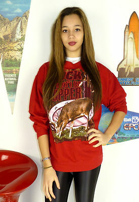 Womens Vintage 90'S Buck Hunting Usa Redneck Kitsch Hipster Sweater Jumper 12 14