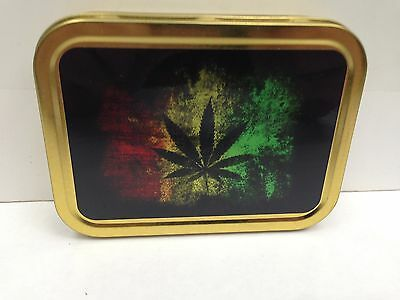 Rasta Leaf Weed Stash Jamaica Smoking Herb Cigarette Tobacco Storage 2oz Tin
