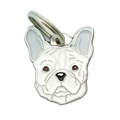 Personalised, engraved breed pet id tags MjavHov, French bulldog, white