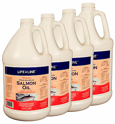 Life Line Wild Alaskan Salmon Oil f/ pets, dogs, cats, FRESH, Premium, 4 gallons