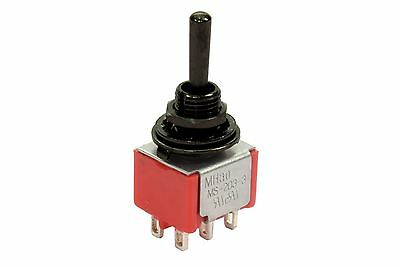 Mini Toggle Switch 3-way On-On-On Round Lever Black