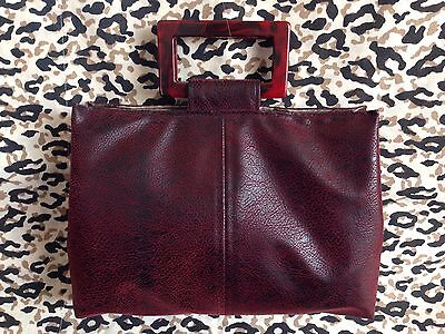 Handmade Dark Red Faux Leather Handbag