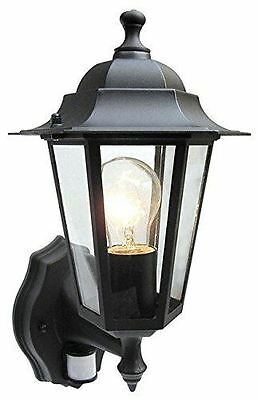 Powermaster Traditional 6 Sided Wall Light Lantern With Pir Sensor - Black